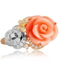 Jooal Coral Ring In White And Rose Gold With Coral And Diamonds - Multicolor