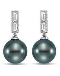 Isaac Westman Black Tahitian Pearl And Diamond Earrings - 21mm