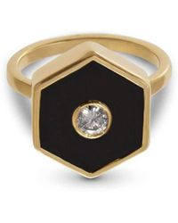 Liz Phillips - Europa Diamond And Hexagonal Black Onyx Ring - Lyst