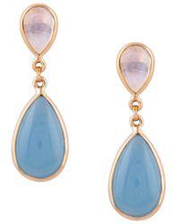 Trésor 18kt Yellow Gold Rainbow Moonstone & Aquamarine Pear Shaped Earrings - Blue