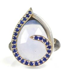 Lisa Robin Ring Swirl Blue Sapphires Around Chalcedony