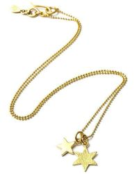 Vicky Davies - Sterling Silver & 18kt Gold Double Star Pendant Necklace - Lyst