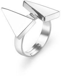 SOLUNA Sterling Silver Sun Triangle Ray Ring - Metallic