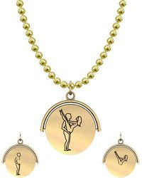Allumer Sutra 13mm Gold Pendant Necklace - Girl And Boy - The Lift - Metallic