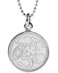 Mantra Jewellery Sterling Silver Lucky Disc Necklace - Metallic