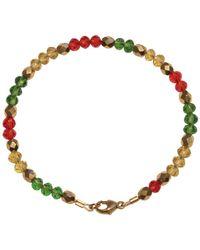 Shinar Jewels 22kt Gold Plated Assyrian Glass Bracelet - Red