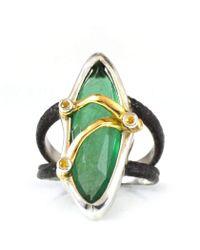 Lisa Robin Ring In Green Onyx-golden Needle Quartz