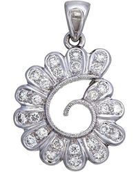 Aara Designer Jewelry - 18kt White Gold & Diamond String Of Petals Pendant - Lyst