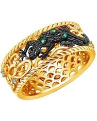Chekotin Jewellery Gold & Emerald Earth Element Lizard Ring   - Metallic