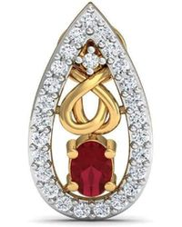 Diamoire Jewels - African Oval Cut Ruby And Diamond Earrings Hand-carved In 14kt Yellow Gold - Lyst