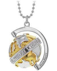 True Rocks - Small Silver & Yellow Gold Revolving Globe Pendant - Lyst