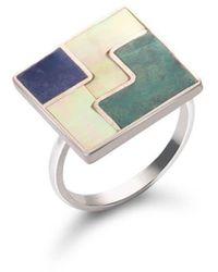 SOLUNA Sterling Silver Mosaic Three Worlds Ring - Metallic