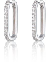 Scream Pretty Silver Oval Huggie Hoop Earrings With Clear Stones - Metallic