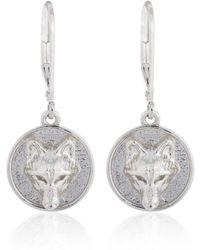 Alexa K - Silver Plated Brass Wolf Disc Earrings - Lyst