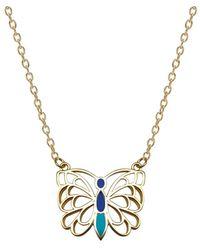 Mirabelle Jewellery Butterfly Enamel Pendant - Blue