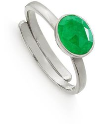 SVP Jewellery Sterling Silver Atomic Mini Emerald Quartz Adjustable Ring - Green