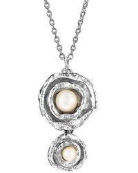 Joseph Lamsin Jewellery Double Cup Drop Pearl Sterling Silver Necklace - Metallic