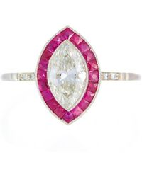 Alexis Danielle Jewelry - Exquisite 1.27ct Marquise Diamond & Ruby Platinum Ring - Lyst