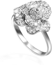 Fei Liu - Peony Ring White Rhodium Finish With Cz Alternative - Lyst