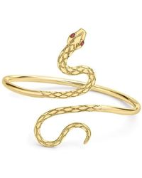 London Road Jewellery | Kew Serpent Yellow Gold Ruby Bangle | Lyst