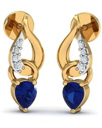 Diamoire Jewels - Prong Set Blue Sapphire And Diamond Earrings In 10kt Yellow Gold - Lyst