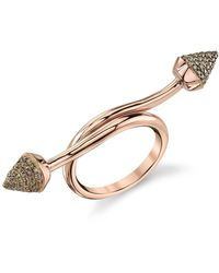 Borgioni Wrapped Spike Ring In Rose Gold - Metallic