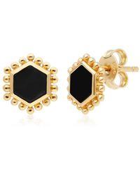 Gemondo Jewellery Gemondo Yellow Gold Plated Silver Flat Slice Black Onyx Stud Earrings