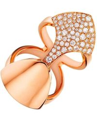 Akillis - Python Armor Rose Gold Set With Diamonds Ring - Lyst