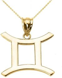 QP Jewellers - Gemini Zodiac Pendant Necklace In 9kt Gold - Lyst
