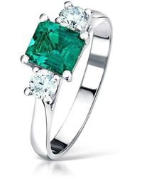 Clearwater Diamonds Step Cut Emerald And Diamond Trilogy Ring - Green