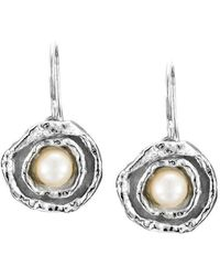 Joseph Lamsin Jewellery Cornish Double Cup Sterling Silver Designer Handmade Pearl Earrings - Metallic