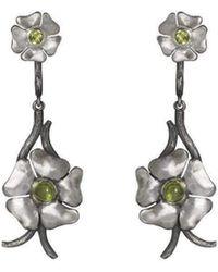 Luke Goldsmith - Silver Bohemian Peridot Flower Drops - Lyst