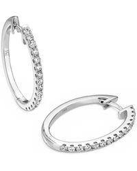 Verifine London 18kt White Gold Oval Diamond Hoop Earrings