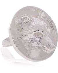 Alexa K - Large Silver Wolf Signature Ring - Lyst