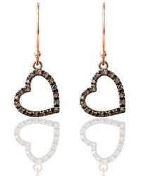 LÁTELITA London - Diamond Open Heart Drop Earring - Lyst