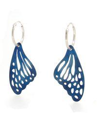 Sian Bostwick Jewellery Sterling Silver Butterfly Wing Hoop Earrings - Blue