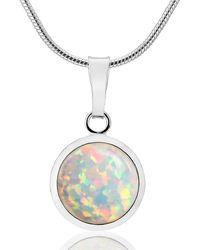 Lavan Silver Large Opal Pendant - Metallic