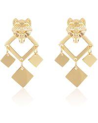 Alexa K Gold Night Wolf Earrings - Metallic