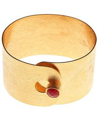 Isla - Minimalist Bangle With Onyx Rani - Lyst