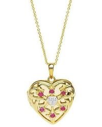 Lily Blanche Gold Love Locket Ruby - Metallic