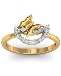 Diamoire Jewels 18kt Yellow Gold Pave 0.14ct Diamond Infinity Ring - UK G 1/4 - US 3 1/2 - EU 45 3/4 JixpNfL