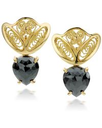 AMMA Jewelry - 18kt Yellow Gold Filigree Amour En Cage Earrings With Black Diamonds - Lyst