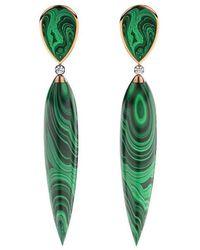 MARCELLO RICCIO Rose Gold, Diamond & Malachite Earrings - Metallic
