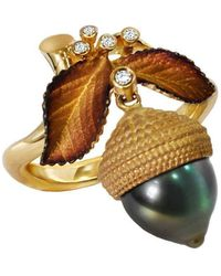 Chekotin Jewellery Gold, Diamond & Pearl Acorn Eden Ring   - Metallic
