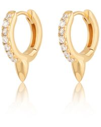 Scream Pretty Gold Plated Bullet Huggie Earrings With Clear Stones - Metallic