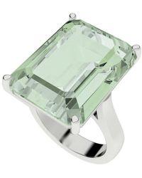 StyleRocks Green Amethyst Emerald Cut Sterling Silver Cocktail Ring - Uk I - Us 4.5 - Eu 48 - Metallic