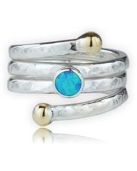 Lavan - Handmade Hammered Gold And Silver Coil Ring Set With Blue Opal - Lyst