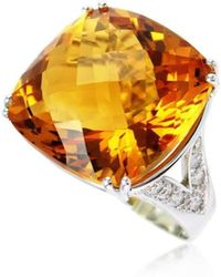 Cherie Thum | Fire And Ice Cushion Citrine Ring | Lyst