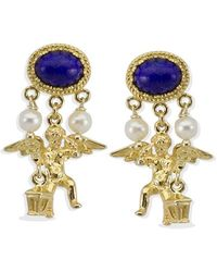 Vintouch Italy Cherubini Lapis Earrings - Metallic