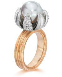 LJD Designs Gold Lotus Blossom Ring - Metallic